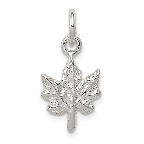 Solid 3-D Maple Leaf Charm in 925 Polished Sterling Silver 17x11mm (Ontario British Store)
