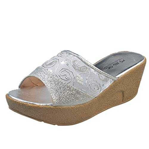 ♖Loosebee♜ Ladies Mesh Lace Lace Breathable Wedge With Platform Slippers High Heels