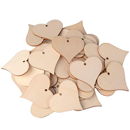 UTOPER Wooden Love Heart Slices Wood Labels Blank Name Tags with Hole Gift Tags for Party Wedding Home Decoration Art Craft (50 Pack, 47mm)