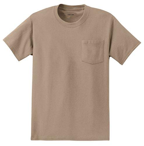 Joe's USA Mens Pocket Tee's Heavyweight 6.1-Ounce Pocket T-Shirt-3XL Sand ()