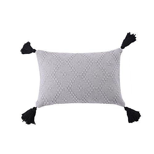 Ojia Tribal Pillow Cover Throw Woven Cotton Tassel Cushion case for Home, Party, Car, Office and Outdoor Decoration (12 x 20 Inch, Gray) ()