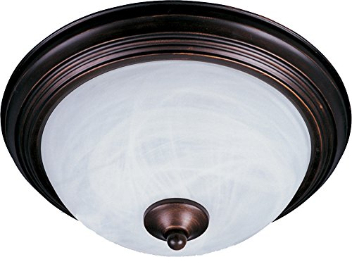 Maxim 5849MROI Essentials 2-Light Flush Mount, Oil Rubbed Bronze Finish, Marble Glass, MB Incandescent Incandescent Bulb , 60W Max., Dry Safety Rating, Standard Dimmable, Glass Shade Material, Rated Lumens -