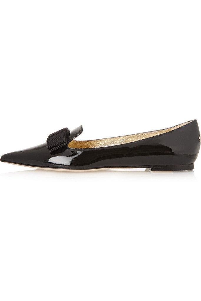Aibarbie Women's Galala Patent-leather Point-toe Flats Office Off-duty Flats Shoes Grosgrain Bow Shoes B015PW19CA 5 B(M) US|Black