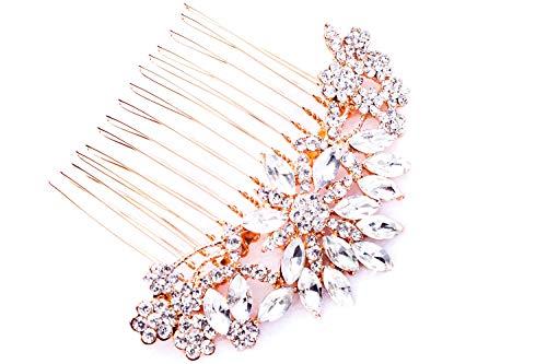 Hapibuy Rose Gold Clear Crystal Bridal Wedding Hair Comb Wedding Headpiece ()