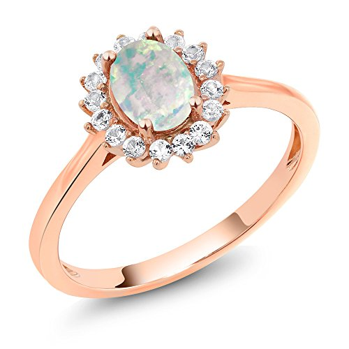 10K Rose Gold Cabochon White Simulated Opal and White Created Sapphire Women's Ring 0.87 Ctw (Size 8) - Cabochon Gold Ring