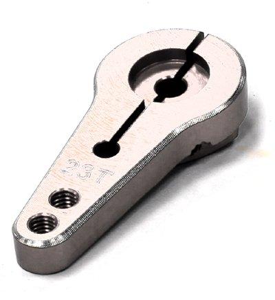 Single Gearbox (Integy RC Model Hop-ups C24485SILVER Billet Machined Single Sided Servo Horn 23T for KO & JR Servo (r=20, 24mm Holes))