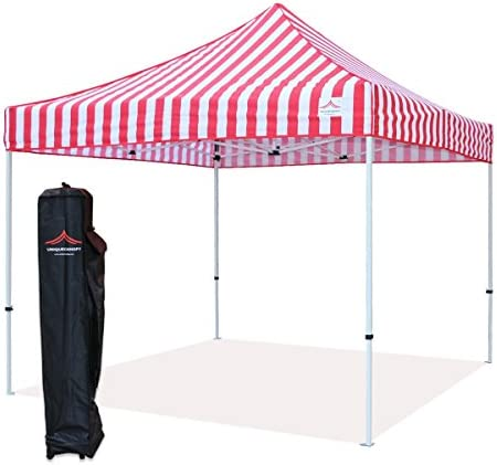 UNIQUECANOPY 10 x10 Ez Pop Up Canopy Tent Commercial Instant Shelter, with Heavy Duty Roller Bag, 10×10 FT Red White Strip