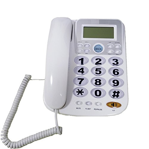 - KerLiTar Big Button Corded Phone for Elderly with Caller ID Speed Dial Alarm Function Landline Desk Telephone for Seniors(White, P034W)