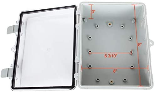 """41oyuXiFuqL. AC Junction Box ABS Plastic Dustproof Waterproof Electrical Enclosure Box Hinged Shell Outdoor Universal Project Enclosure Grey with PC Clear Transparent Cover 8.7 x 4.7 x 2.2 inch (220x170x110mm)    Specifications : Outer Size (approx.): 8"""" x 4.7"""" x 2.2"""" (200mmx120mmx56mm)(L*W*H)  Inner size (approx.):7.6"""" x 4.5"""" x 2.0"""" (194mmx114mmx49mm) (L*W*H)  Thickness: 0.16''/4mm Screw Thread Dia.: 4mm/0.16""""【Durable Material】Junction boxes, perfect for use outdoors, made of ABS, durable for use, and easy to install.【Product Size】Outer Size of electrical enclosure (approx.): 8"""" x 4.7"""" x 2.2"""" (200x120x56mm);Inner size of electrical enclosure (approx.): 7.6"""" x 4.5"""" x 2.0"""" (194x114x49mm)(L*W*H) ; Thickness: 0.16''/4mm; Screw Thread Dia.: 4mm/0.16"""".【Easy to operate】: Junction box is easy to install, Hinged enclosure makes the opening and closing easier; Come with transparent cover, the inner project of junction box can be more visible.【Specifications】Waterproof Ingress Protection Rating is IP65, moisture-proof, sunscreen, anti-corrosion, durable for years use.【Application】Suitable for indoor and outdoor electrical, communications, fire equipment, steel smelting, oil chemical industry, electronics, electric power, railway, construction site, mining, quarry, airport, hotel, ships, large factories, terminal equipment, sewage discharge wastewater, environmental hazards, etc."""