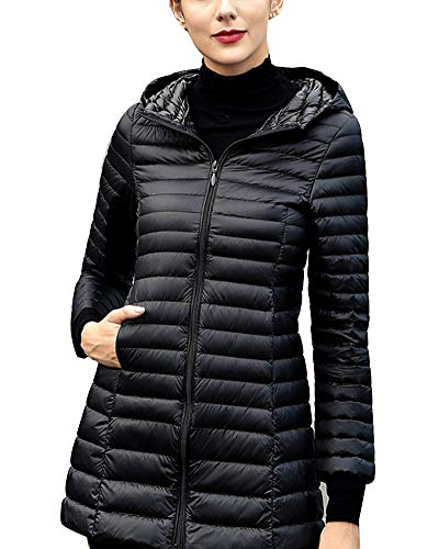 GladiolusA Women's Ultralight Packable Hooded Long Jacket Coat Outwear Black
