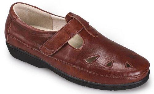 Propet Women's Ladybug T-Strap Walking Shoe Loafer Flat, Chestnut ()