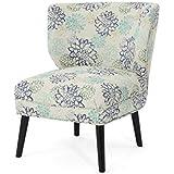 Roger Modern Farmhouse Accent Chair, Blue Floral
