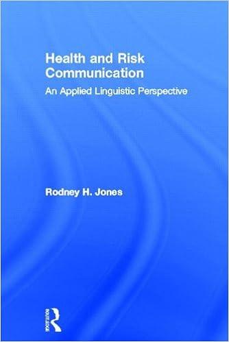 health and risk communication jones rodney