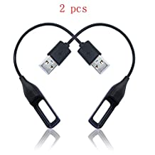 GOOQ® Replacement USB Charging Charger Cable Cord for Fitbit Flex Band Wireless Activity Bracelet - 0.59 Feet Black (2pcs)