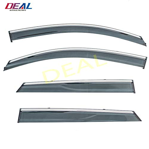 - DEAL 4-piece set vent window visor with smoke chrome trim, side window rain guard with outside mount tape-on type, custom fit high-class quality for 2016-2018 Hyundai Tucson All Models