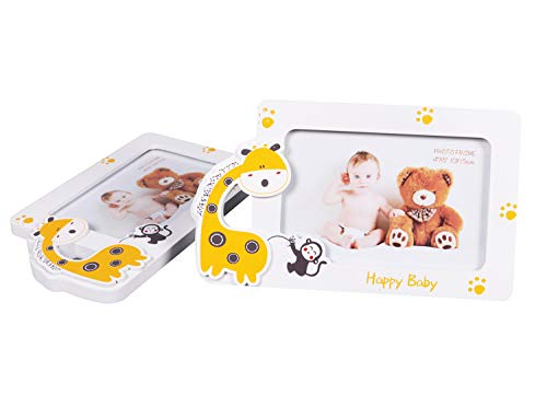 - Feelyou Baby Photo Frame Set of 2 Wooden Glass Picture Frame for Kids Boys Girls Cute Baby Gift Table Top Display Home Nursery Decor Cartoon Giraffe Monkey Animal Pattern, White 5x7
