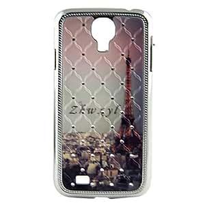 ZCL-Galvanoplastia Relief hermoso estuche rígido patrón Torre Eiffel de cristal para Sansung i9500