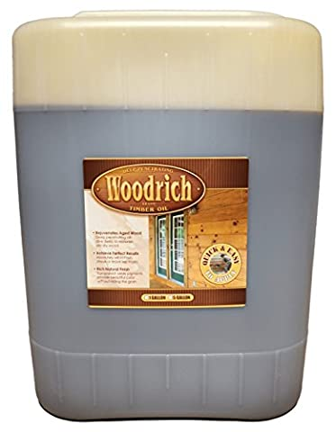 Timber Oil Deep Penetrating Stain for Wood Decks, Wood Fences, Wood Siding, and Log Cabins - 5 Gallon - Woodrich Brand - Covers up to 750 Square Feet - 100% Guaranteed - Easy to Use (Warm Honey - Base Semi Solid Oil