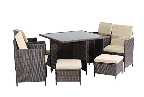 UNITED FLAME 9PCS WICKER RATTAN OUTDOOR INDOOR GARDEN PATIO CONSERVATORY BISTRO FURNITURE CUBE DINING SET-CUBE-9 RATTAN DINING SET/ONE TABLE+FOUR CHAIRS+FOUR STOOLS. (Rattan Cushions Conservatory Furniture)
