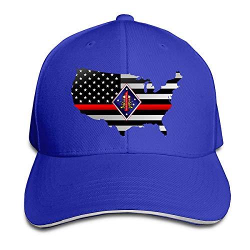 US 1st Marine Division Band Thin Red Line Flag Adjustable Sandwich Hats Baseball Cap Sun Hat (Marine Division Hat)