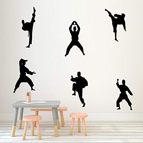 Martial Kung Fu Wall Sticker Creative Vinyl Sport Taekwondo Players Wall Decal Kids Bedroom Living Room DIY Mural Wall Art Decor,Black