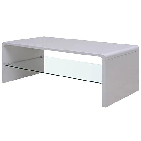 Mesa Baja, Mesa Baja Brillante Blanca. Material: PFDM + Cristal ...