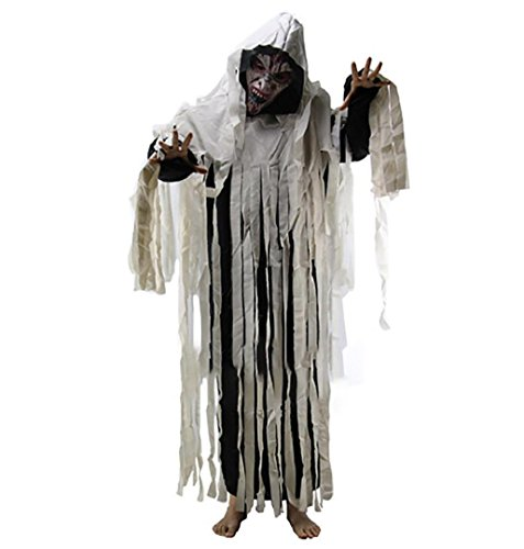 Creepy Doll Makeup Costume (Adult Halloween Costumes,Crystell Creepy Cemetery Halloween Party Giant Ghost Decoration Hooded Cloak)