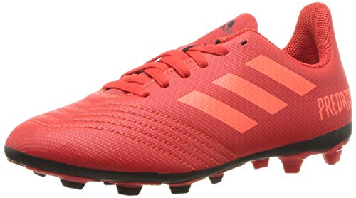 adidas Unisex Predator 19.4 Firm Ground, active red/solar red/black, 1 M US Little - Red Cleats Kids