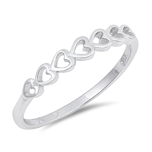 (Stackable Love Heart Promise Ring New 925 Sterling Silver Girl's Band Size)
