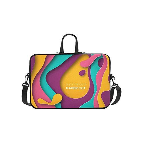 Elegant Euro Sham Blue Pink Geometric Pattern Briefcase Laptop Bag Messenger Shoulder Work Bag Crossbody Handbag for Business Travelling