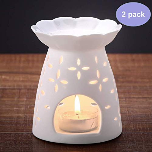 NJCharms Essential Oil Burner,Ceramic Candle Powered Aroma Lamp Wax Burner for Home Office Baby,White Carved Clover (Set of 2) ()