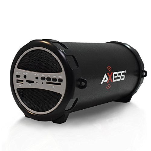 AXESS SPBT1031 Portable Bluetooth Indoor/Outdoor 2.1 Hi-Fi Cylinder Loud Speaker with Built-In 3