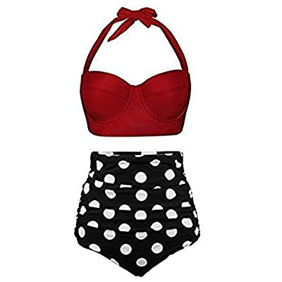 Steagoner Women's Bikini Set Two Piece Sexy Bottom with Floral Printed Halter Padded High Waisted Swimsuit: Clothing