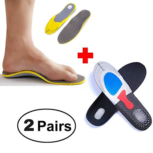 2 Pairs Shoe Insoles, Orthotic Insoles+Sport cushion Insoles Providing Excellent Shock Absorption and Cushioning, Best Insoles for Men and Women for Everyday Use