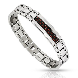 STB-0002 Stainless Steel Red/Black Carbon Fiber Inlay Link Bracelet; Comes With FREE Gift Box