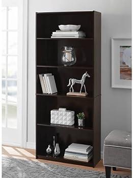 Mainstays 5-Shelf Wood Bookcase