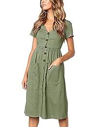 Women's Dresses-Short Sleeve V Neck Button T Shirt Midi Skater Dress Pockets