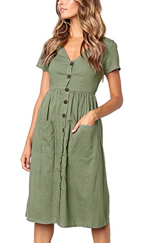 esses-Short Sleeve V Neck Button T Shirt Midi Skater Dress with Pockets Green ()