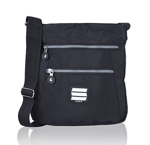 Suvelle Lightweight Go-Anywhere Travel Everyday Crossbody Bag Multi Pocket Shoulder Handbag 20103 Black