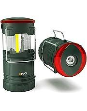 EMPO® Lanterna LED COB Portatile da Campeggio Torcia Agganciabile per Esterni - Lanterna Magnetica, Torcia e Segnale in Uno - Funzionante a 3 AA Batteria, Resistente all'Acqua - Verde Oliva - 2 Pezzi