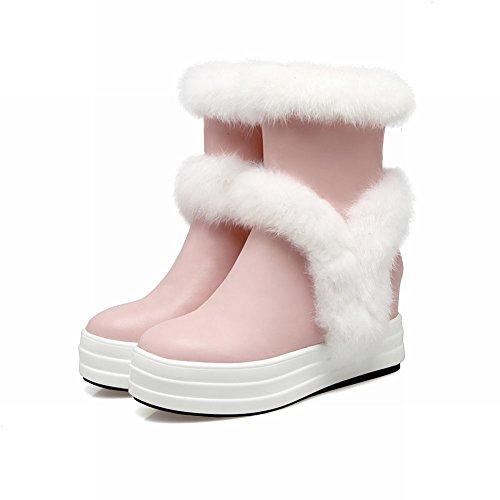 Charm Foot Mujeres Sweet Zipper Tacón Alto Oculto Plataforma Botas De Nieve Rosa
