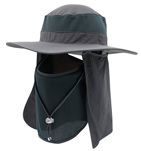 (Home Prefer Men's Sun Hat Mesh Bucket Hat Detachable Neck Face Flap Hat Boonie Hat Charcoal)