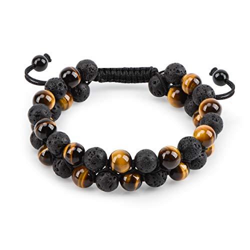 HASKARE Genuine Stone Beads Bracelet - Tiger Eye Lava Rock Essential Oil Diffuser Bracelet Natural Healing Stone Beads Bracelet 8mm Couples Adjustable (Brown Tiger Eye & Lava Rock) -