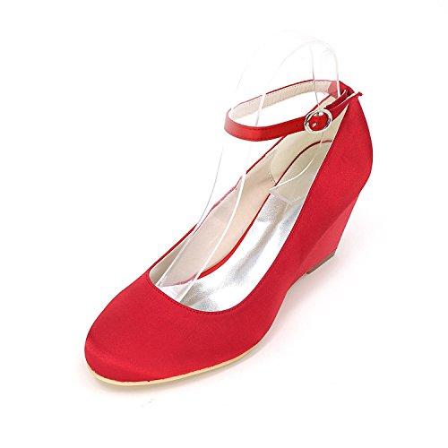 Elegant Frauen High Heels Bequeme Piste mit Hochzeit Schuhe Ballett Hochzeitsfeier Multi-Color Red