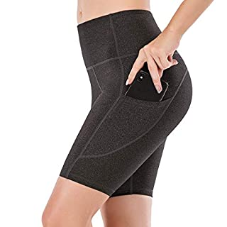 """Lianshp Yoga Shorts with Pockets for Women High Waist Tummy Control Athletic Workout Running Shorts 8"""" Black M"""