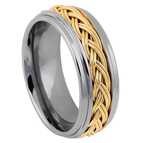 FashionBros Free Laser Engraving Wedding Band Ring Set for Him & Her - 8mm Tungsten Carbide Step Edge High Polished with Yellow Gold IP Plated Double Braid Inlay