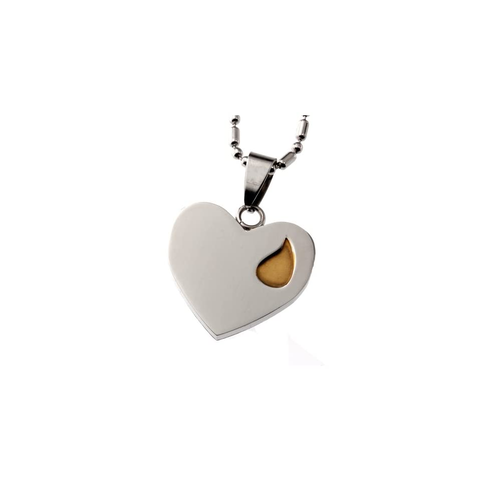 R.H. Jewelry Stainless Steel Sentiment Message Heart Pendant Necklace