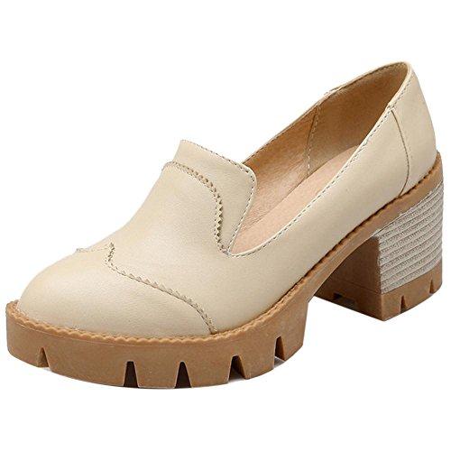 Coolcept Zapatos de Primavera de Tacon Ancho para Mujer Beige