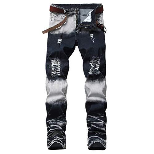 NUWFOR Men's Stretchy Ripped Skinny Biker Jeans Destroyed Taped Slim Fit Denim Pants(Black,US:34/AS:34 Waist?34.3
