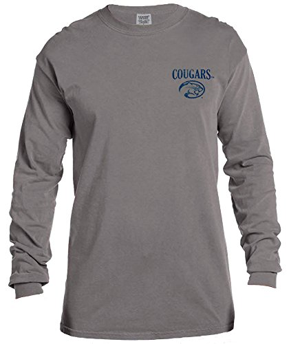 NCAA Houston Cougars Vintage Poster Long Sleeve Comfort Color Tee, Medium,Grey
